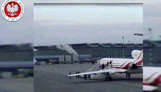Kadr z nagrania opublikowanego przez SKW - wylot tupolewa do Smoleńska