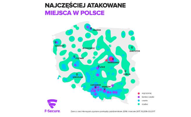Mapa celów ataków w Polsce
