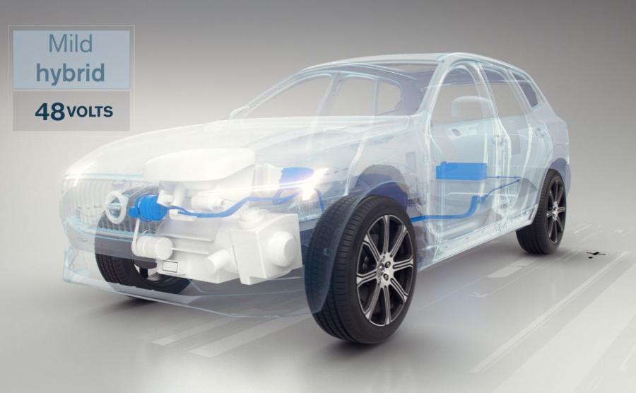 Volvo z napędem mild hybrid i instalacją 48V. W przypadku, gdy moc silnika elektrycznego jest znacząco niższa od mocy silnika spalinowego i pełni on wyłącznie rolę wspomagającą, nie umożliwiając jazdy z napędem wyłącznie elektrycznym, używa się określenia mild hybrid