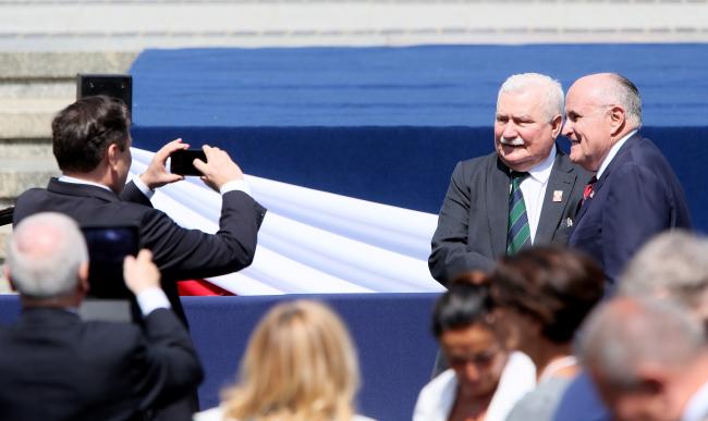 Lech Wałęsa w czasie wizyty Donalda Trumpa w Polsce