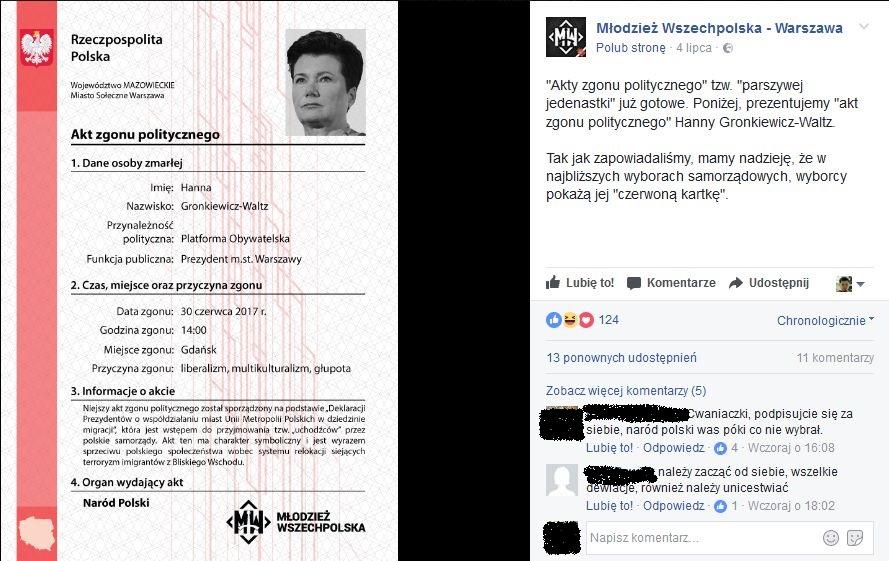 Akt zgonu politycznego wystawiony przez Młodzież Wszechpolską - Hanna Gronkiewicz-Waltz