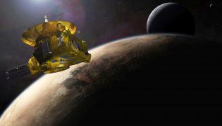 Wizja artystyczna sondy Hew Horizons podczas przelotu w pobliżu Plutona Fot. NASA/JHUAPL/SwRI