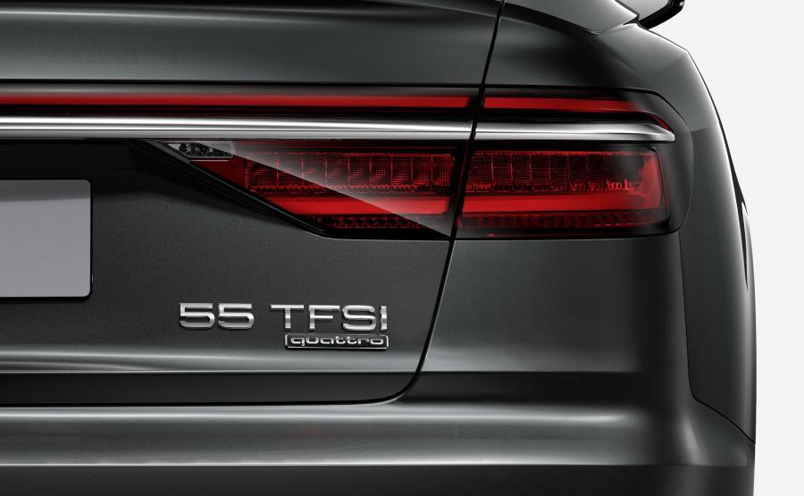 Nowe A8 z jednostką napędową 3.0 TFSI 250 kW to A8 55 TFSI