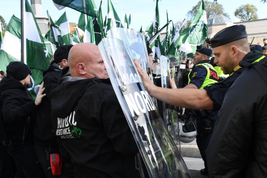 Szwecja marsz neonazistów