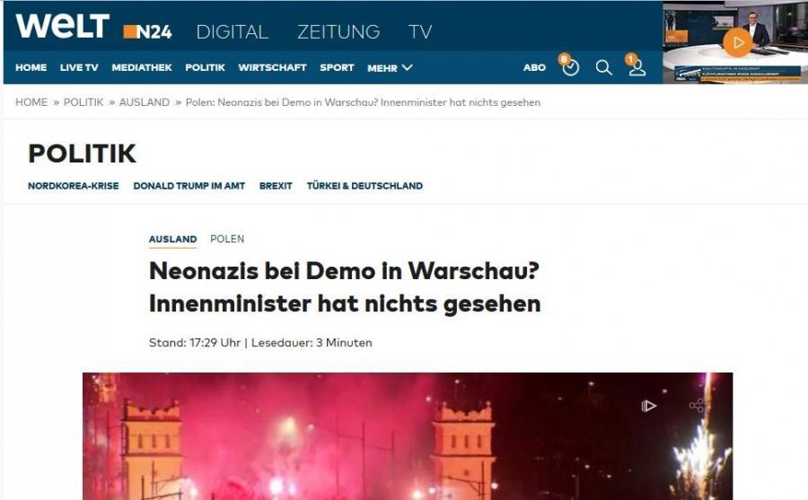 """""""Die Welt"""" o Marszu Niepodległości"""