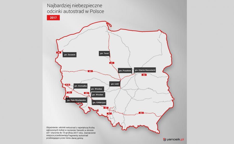 Najbardziej niebezpieczne odcinki autostrad w Polsce