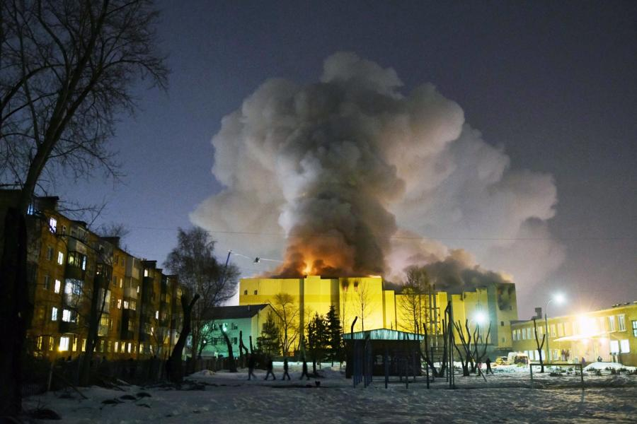 Pożar centrum handlowego w Kemerowie w Rosji