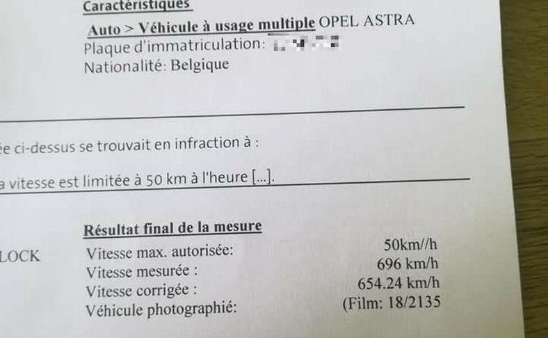 Fotoradar ustawiony w terenie zabudowanym zmierzył prędkość i wskazał… 696 km/h