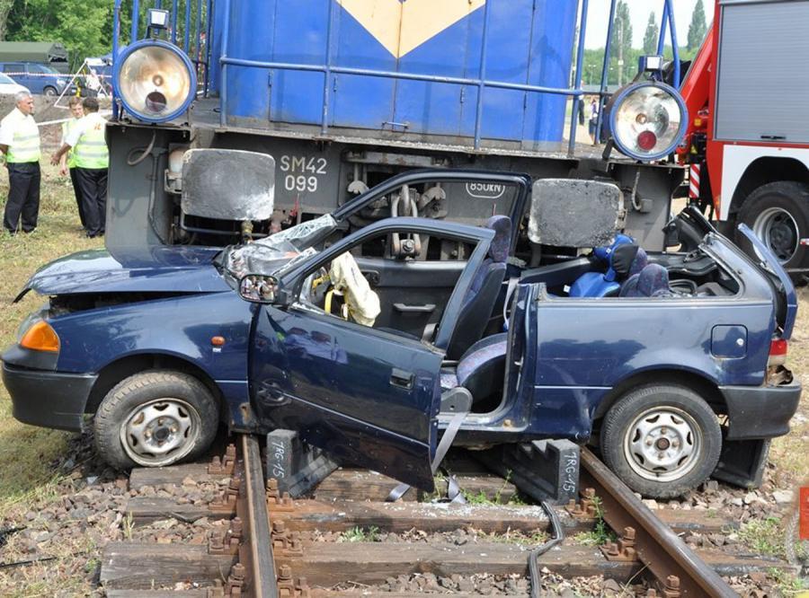 Zderzenie lokomotywy z samochodem