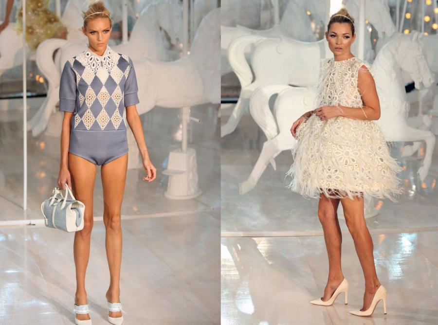 Anja Rubik i Kate Moss na pokazie Louis Vuitton