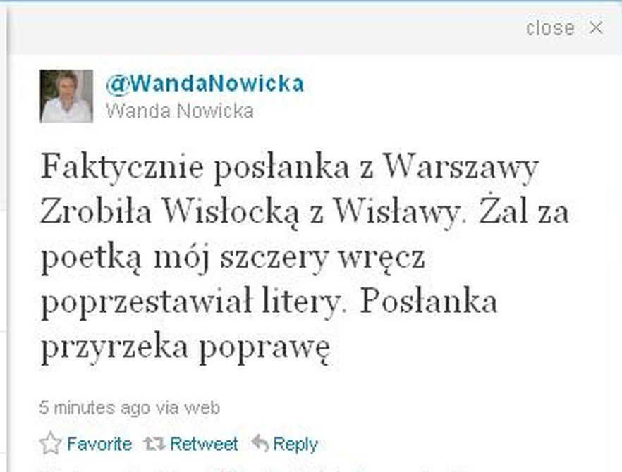 Wanda Nowicka na Twitterze