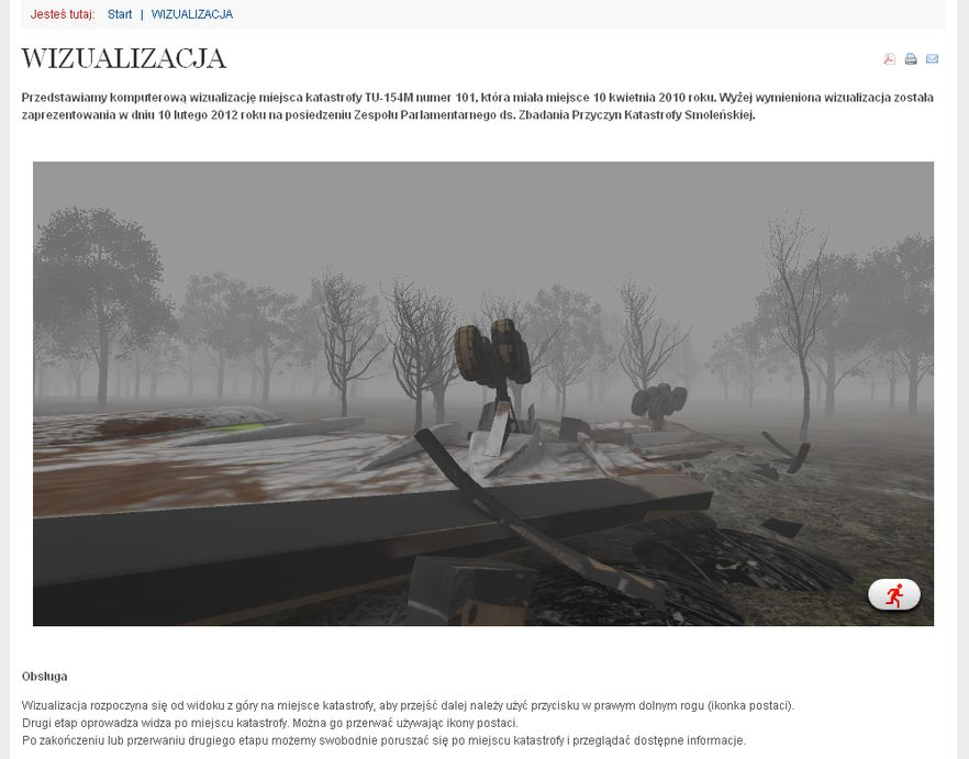 Fragment wirtualnej rekonstrukcji miejsca katastrofy smoleńskiej