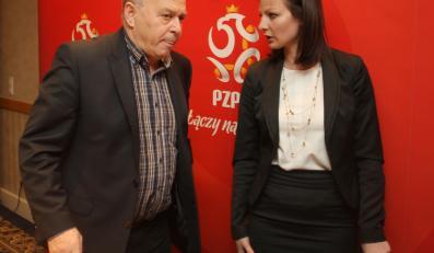 Prezes PZPN, Grzegorz Lato i rzeczniczka związku, Agnieszka Olejkowska