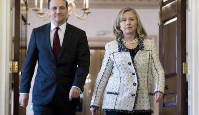 Szef MSZ Radosław Sikorsk i sekretarz stanu USA Hillary Clinton