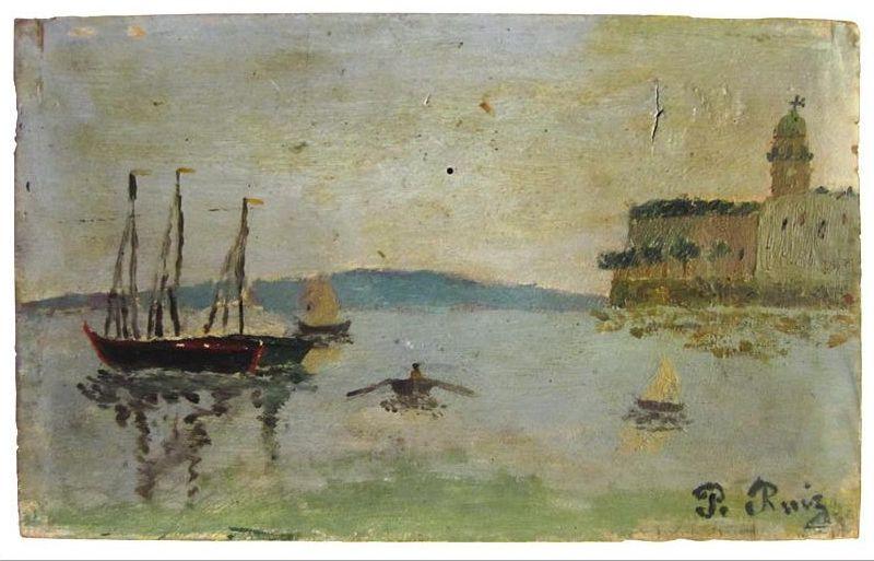 Pablo Picasso (1881-1973). Crepúsculo en el puerto de Málaga, Ca.1889. © Colección particular, París © Sucesión Pablo Picasso. VEGAP, Madrid, 2013.