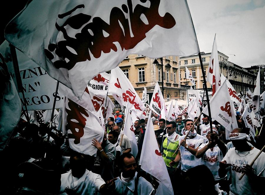 Demonstracja związkowców z \
