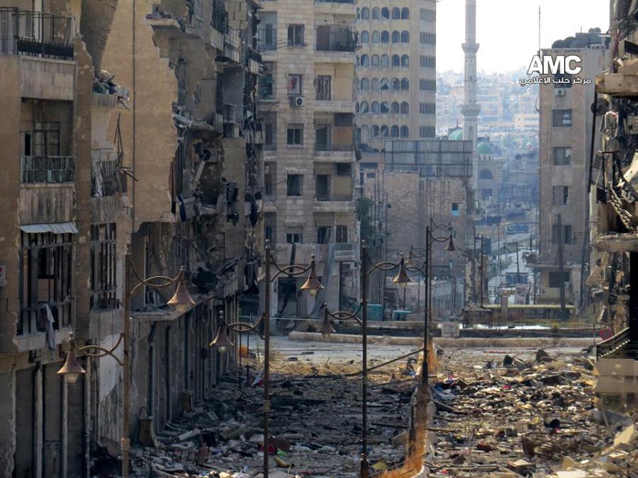 Zniszczone miasto Aleppo w Syrii