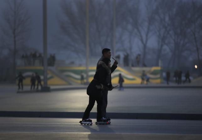 Pjongjang nocą. Ciemno, pusto, przygnębiająco