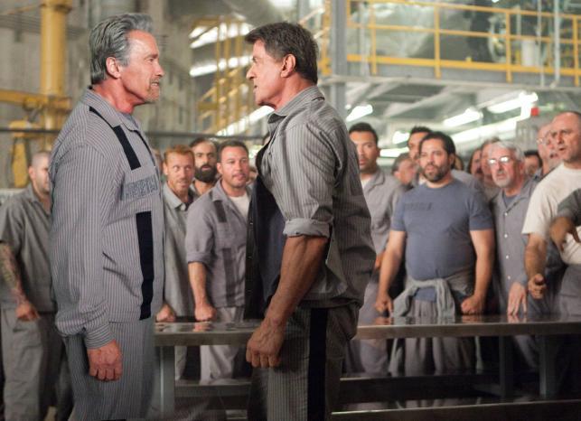 "Arnold Schwarzenegger i Sylvester Stallone w filmie ""Plan ucieczki"""