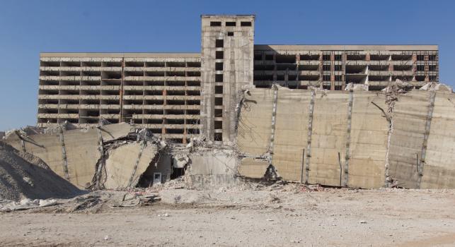 Wyburzanie kompleksu Akademickiego Centrum Medycznego w Zabrzu, zwanego powszechnie Szpitalem Religi