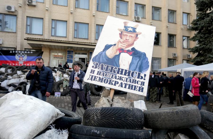 Barykada prorosyjskich separatystów