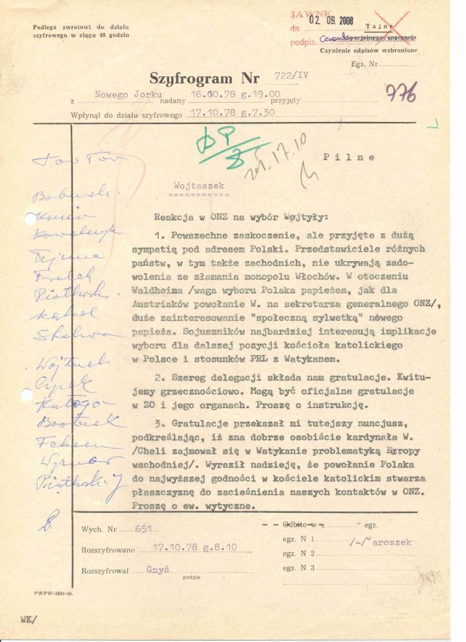 Depesza Henryka Jaroszka do Warszawy o reakcji w ONZ: \