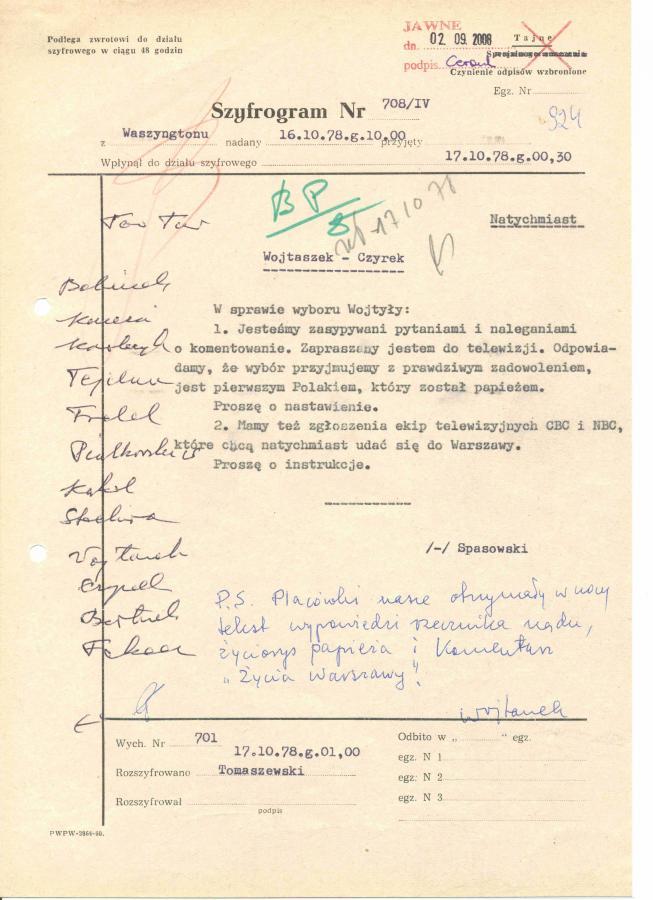 Depesza Romualda Spasowskiego do Warszawy z prośbą \