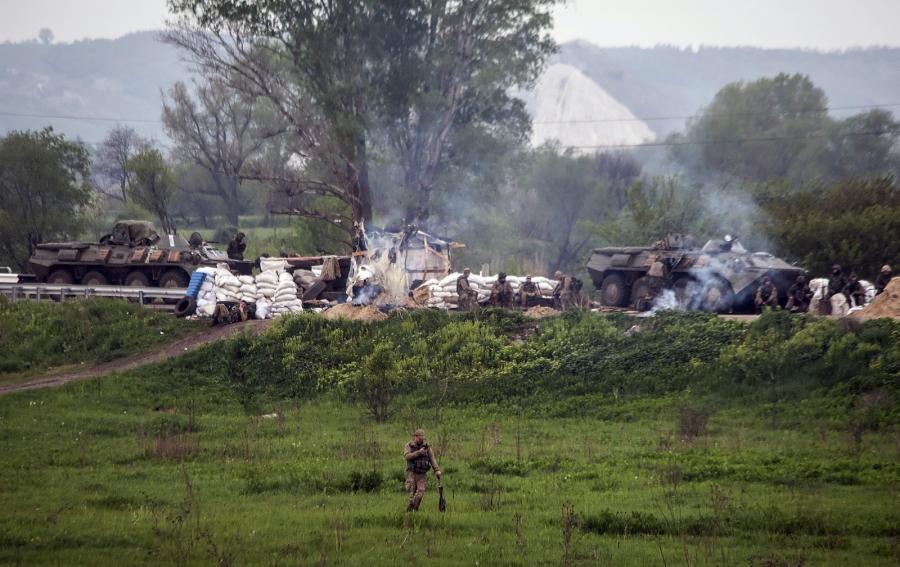 Ukraińscy żołnierze koło Słowiańska
