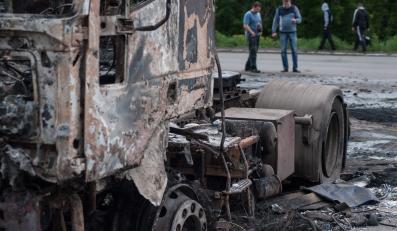 Słowiańsk po walkach sił ukraińskich i prorosyjskich separatystów