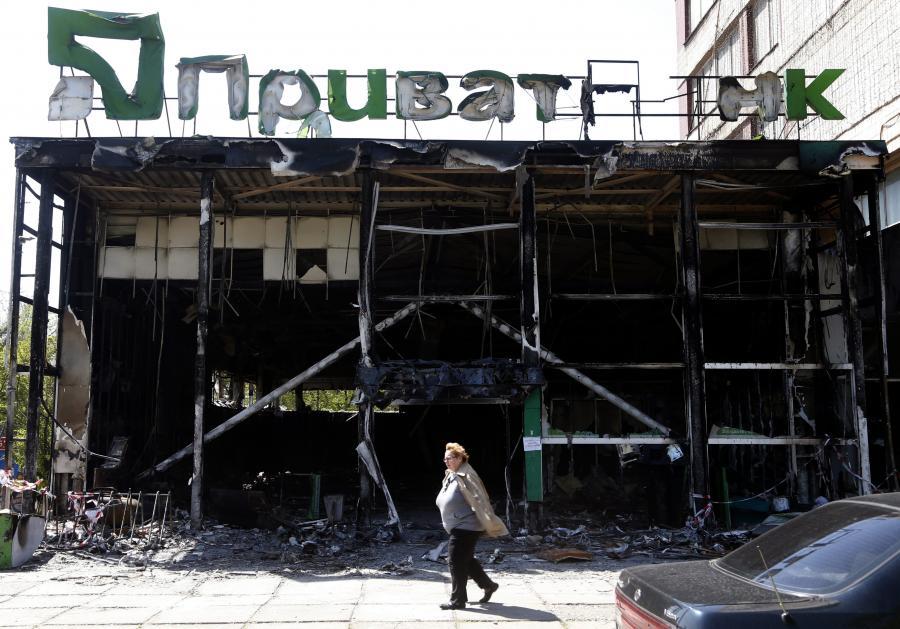 Spalony bank w Mariupolu