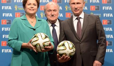 Prezydent Brazylii Dilma Rousseff, szef FIFA Sepp Blatter, i prezydent Rosji Władimir Putin