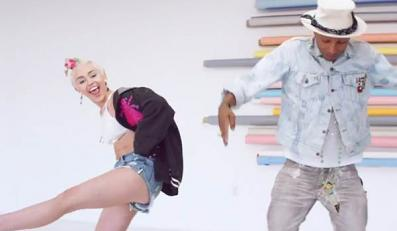 Miley Cyrus i tańczące dziewczyny u Pharrella