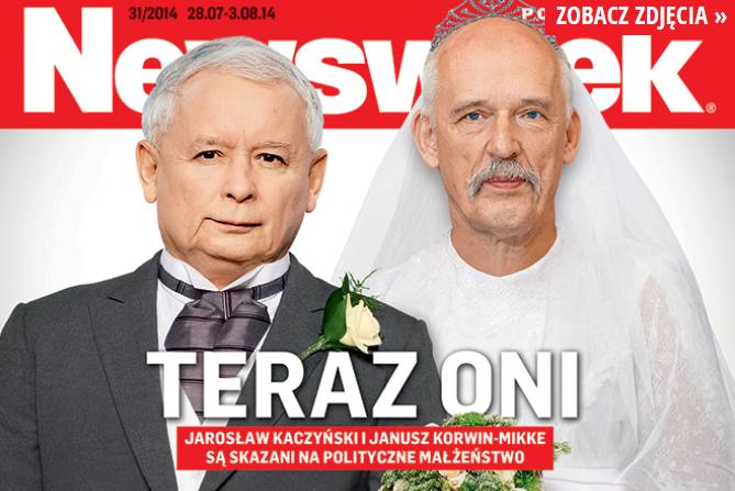 Jarosław Kaczyński i Janusz Korwin-Mikke na okładce \