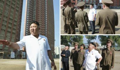 Kim Dzong Un wizytuje budowlę osiedla dla nauczycieli w Pyongyangu