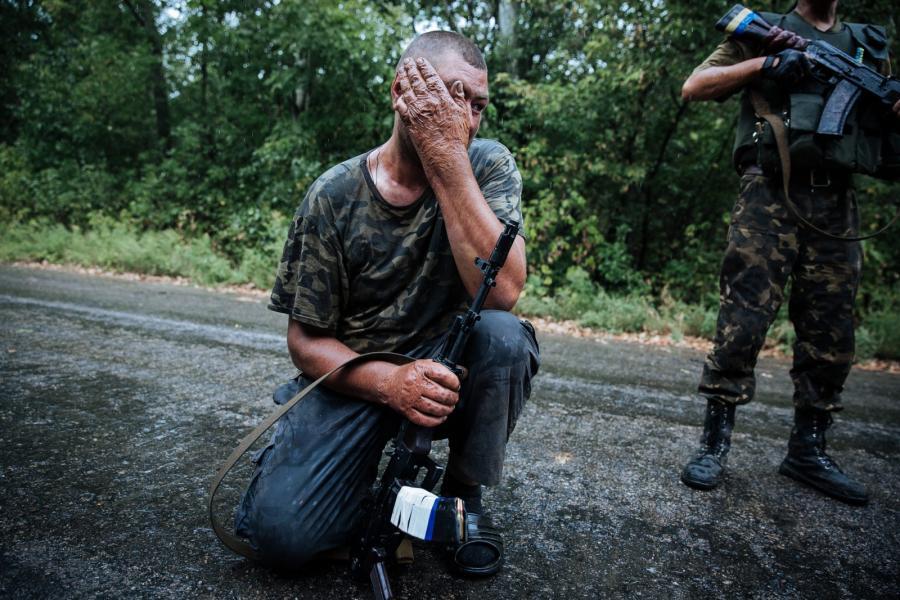 Ukraińscy żołnierze niedaleko Gorłówki