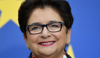 Kandydatka na ministra spraw wewnętrznych Teresa Piotrowska podczas oficjalnego ogłoszenia składu rządu Ewy Kopacz