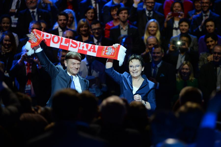 Były premier, przewodniczący-elekt Rady Europejskiej Donald Tusk oraz premier Ewa Kopacz