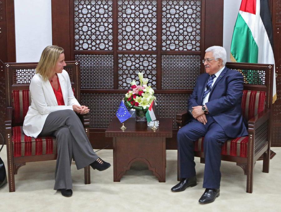 Federica Mogherini i prezydent Autonomii Palestyńskiej Mahmud Abbas