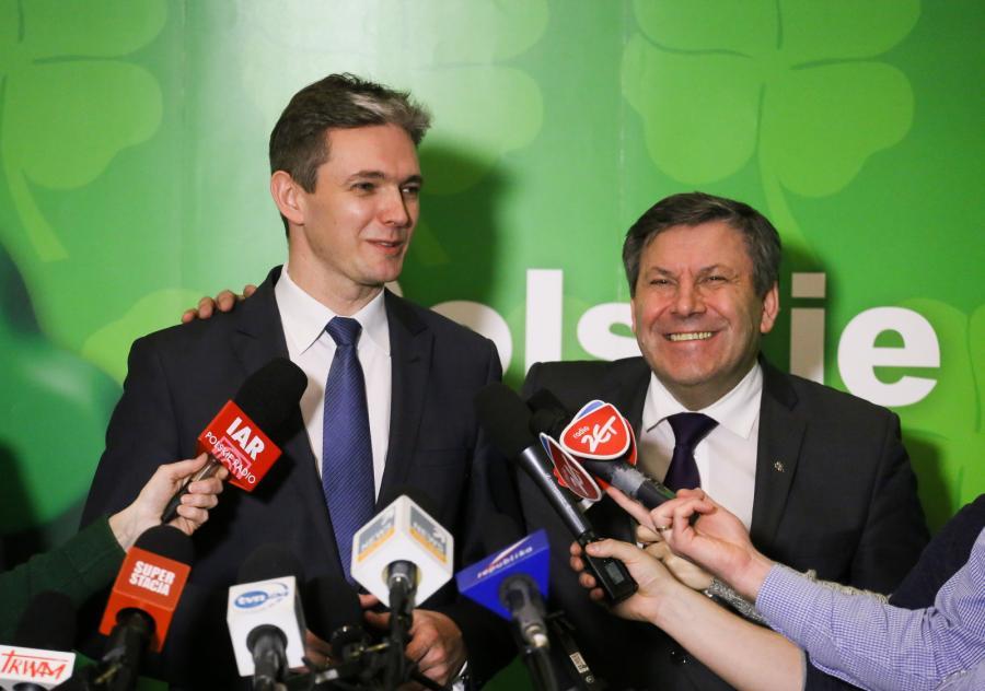 Kandydat PSL na prezydenta Adam Jarubas i prezes PSL, wicepremier, minister gospodarki Janusz Piechociński