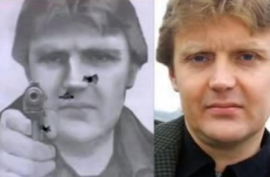 Tarcza z wizerunkiem Aleksandra Litwinienki, podziurawiona kulami