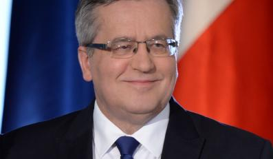 Prezydent Bronisław Komorowski podczas konferencji prasowej