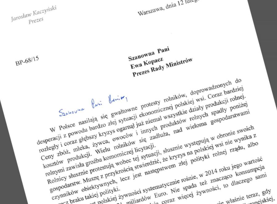 Jarosław Kaczyński napisał lis do Ewy Kopacz