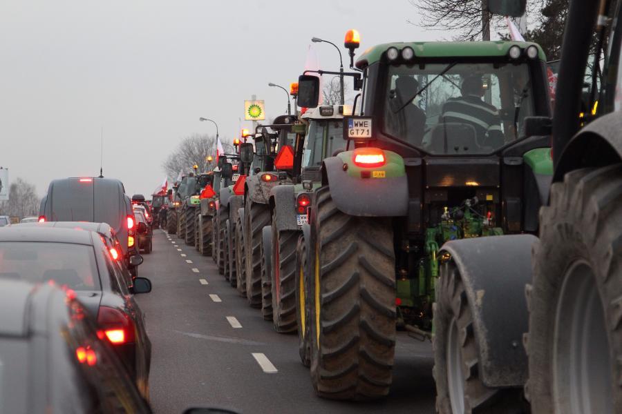Protest rolników na traktorach