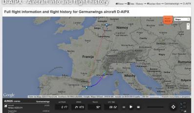 Trasa samolotu Airbus A320 linii Germanwings