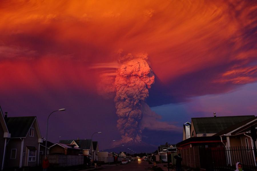 Wulkan Calbuco na południu Chile