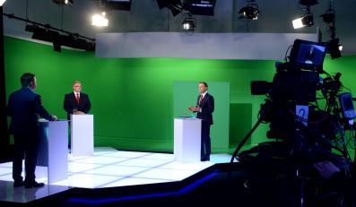 Andrzej Duda i Bronisław Komorowski w czasie debaty w TVN