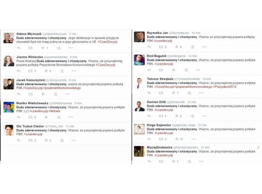 Oficjalny przekaz PO na Twitterze w czasie debaty prezydenckiej?