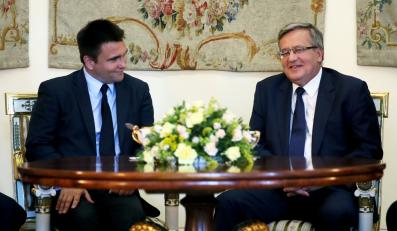 Prezydent Bronisław Komorowski i minister spraw zagranicznych Ukrainy Pawło Klimkin podczas spotkania w Belwederze