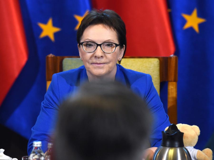 Premier Ewa Kopacz podczas spotkania z prezydentem Słupska Robertem Biedroniem
