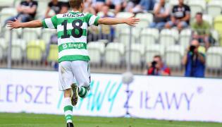 Piłkarz Lechii Gdańsk Adam Buksa cieszy się z gola podczas towarzyskiego Super Meczu z Juventusem Turyn na PGE Arenie